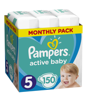 PAMPERS ACTIVE BABY ROZMIAR 5, 150 PIELUSZEK, 11-16 KG (MONTHLY BOX)