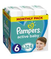 PAMPERS ACTIVE BABY ROZMIAR 6, 124 PIELUSZKI, 13-18 KG (MONTHLY BOX)