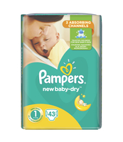PAMPERS NEW BABY-DRY PIELUCHY 1 NEWBORN 43 SZT.