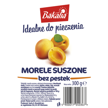 BAKALIA MORELE SUSZONE BEZ PESTEK 300G SANTE