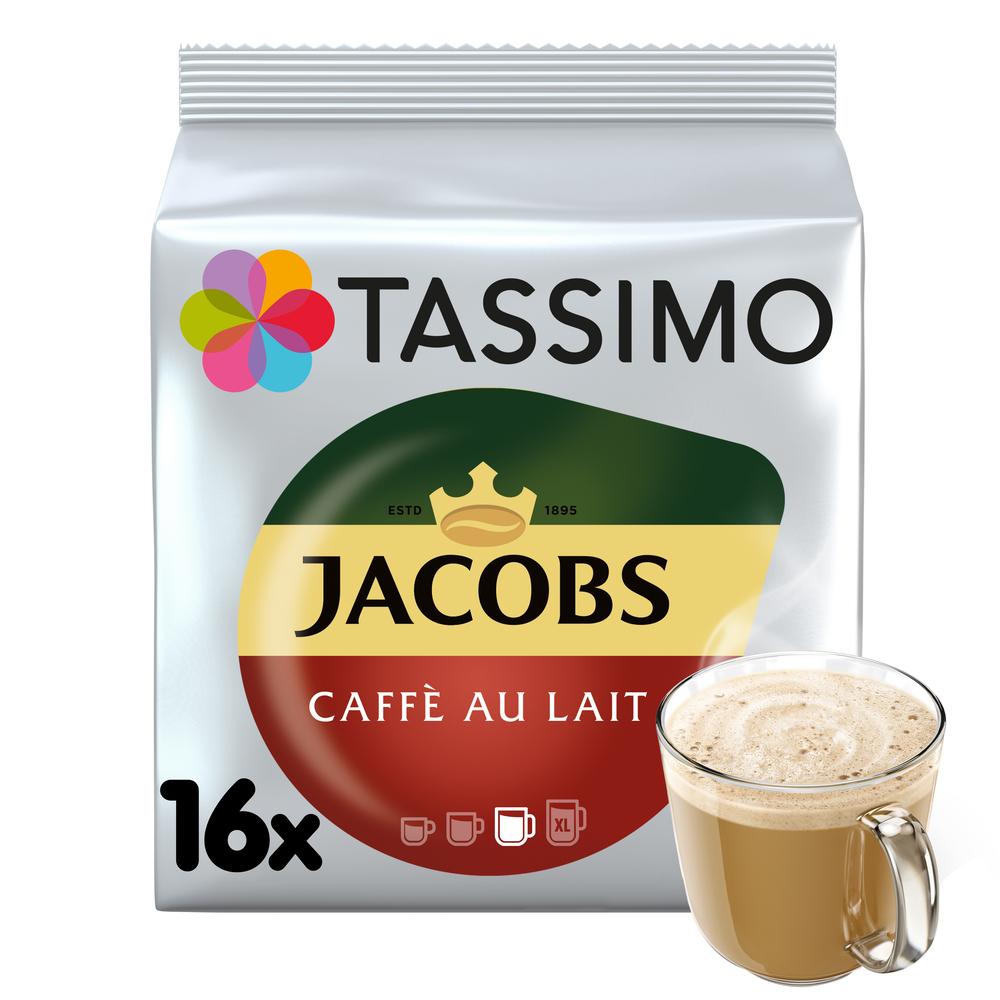 TASSIMO JACOBS CAFÉ AU LAIT NAPÓJ Z KAWĄ ROZPUSZCZALNĄ I MLEKIEM 16 KAPSUŁEK 184 G