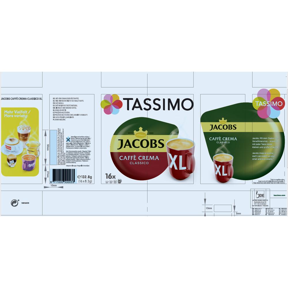 TASSIMO JACOBS CAFFÈ CREMA CLASSICO XL KAWA MIELONA 16 KAPSUŁEK 132,8 G