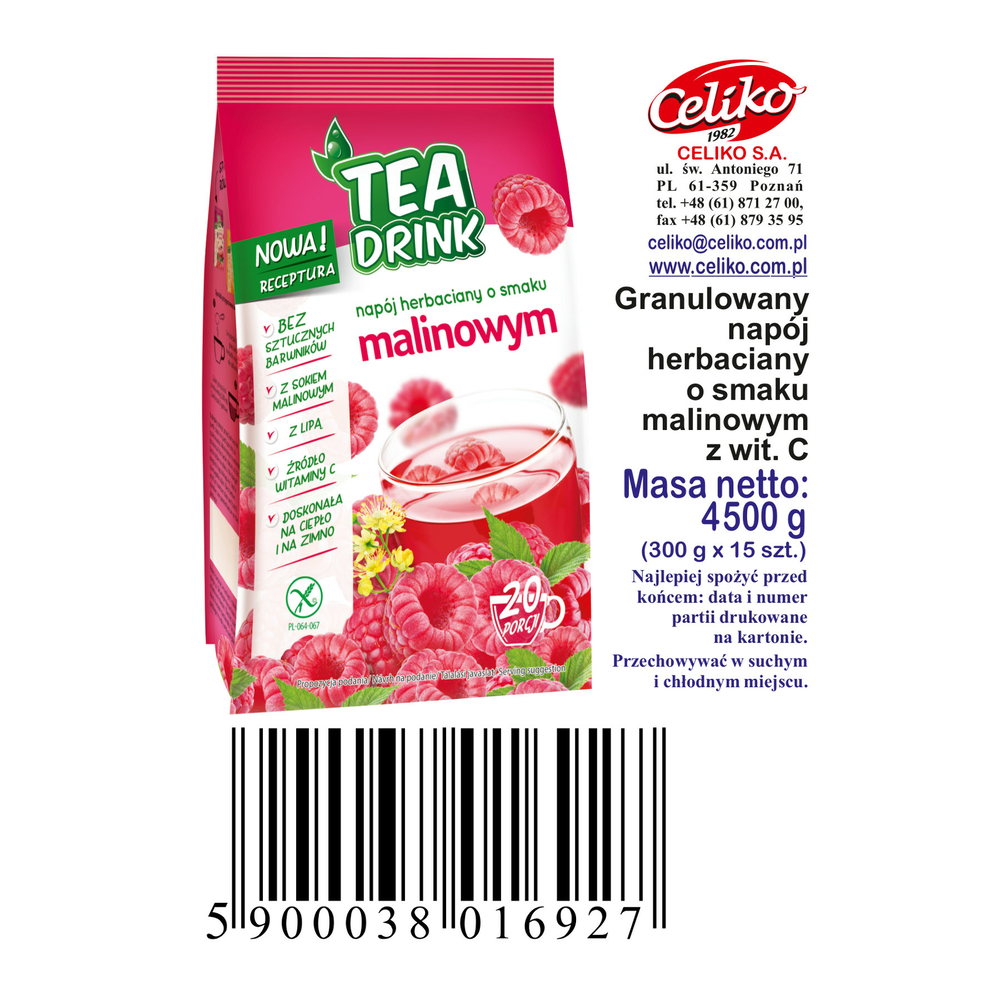 NAPÓJ HERBACIANY O SMAKU MALINOWYM Z WIT.C TEA DRINK 300G