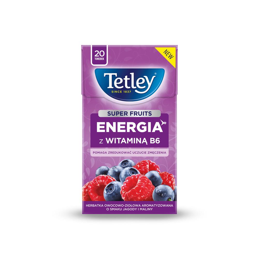 HERBATA TETLEY SUPER FRUITS ENERGIA Z WITAMINĄ B6 JAGODA&MALINA 20 TOREBEK X 2G