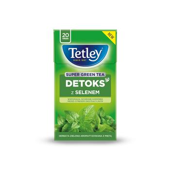 HERBATA TETLEY SUPER GREEN DETOKS MIĘTA 20 TOREBEK X 2G