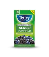 HERBATA TETLEY SUPER GREEN SERCE Z WITAMINĄ B1 JAGODA&JEŻYNA 20 TOREBEK X 2G
