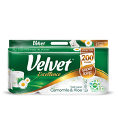 PAPIER TOALETOWY VELVET EXCELLENCE CAMOMILE & ALOES SZT. 8