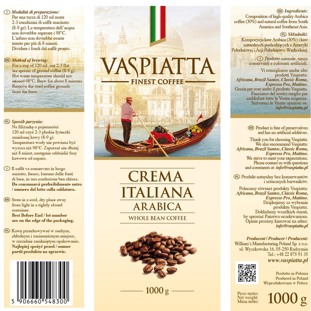 KAWA VASPIATTA CREMA ITALIANA 1000 G