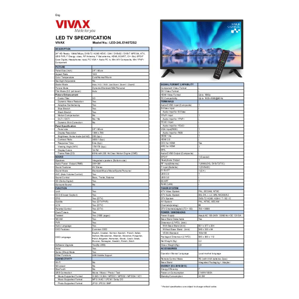 """TELEWIZOR LED VIVAX 24"""" 24LE140T2S2"""