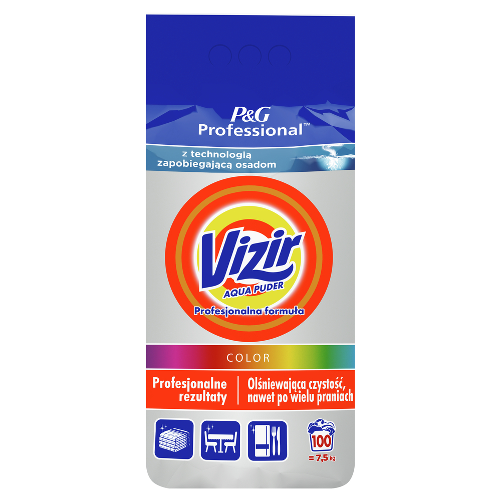 VIZIR PROFESSIONAL COLOR PROSZEK DO PRANIA 7,5 KG, 100 PRAŃ