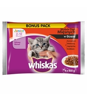 WHISKAS JUNIOR MIĘSNE DANIA SOS 4X100G